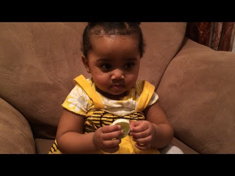 Habesha baby eating lemons for the first time